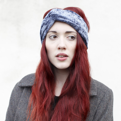Medium velvet turban gunmetal 2