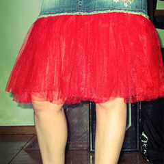 Denim Mini Skirt With Tulle