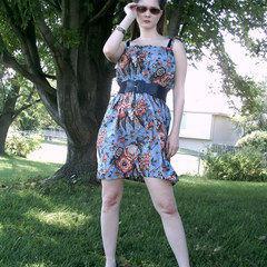 Shirred Print Dress