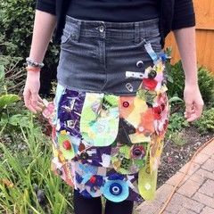 Skirt Made From Denim And Recycled Objects