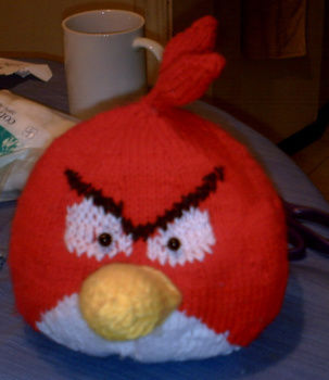 Red Bird .  Make a bird plushie by knitting with yarn. Inspired by birds and angry birds. Creation posted by Essence. Difficulty: 5/5. Cost: Cheap.