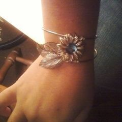 Wire Wrapped Cuff With Reconstructed Jewelry Parts