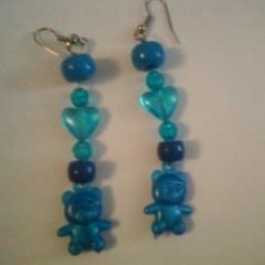 Blue Bear Earings