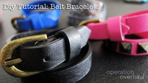 Give old belts a new life! Wear them on your wrist!  .  Free tutorial with pictures on how to make a hand bracelet in under 10 minutes using scissors, permanent marker, and studs. How To posted by Operation Overhaul. Difficulty: Easy. Cost: Absolutley free. Steps: 7