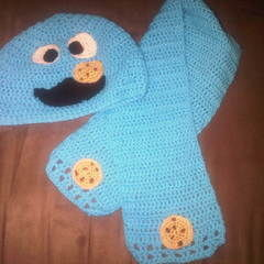 Cookie Monster Hat & Scarf Set