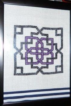 From Jan Eaton's recent book.  .  Cross Stitch art in under 120 minutes by cross stitching with ribbon, frame, and crochet thread. Creation posted by Margo X. Difficulty: Easy. Cost: Absolutley free.