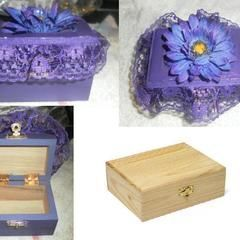 Hand Painted Jewelry Box With Flower Accent