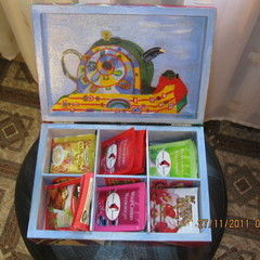 A Painted Wooden Tea Box