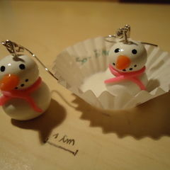 Snowman Earrings (Polymer Clay)