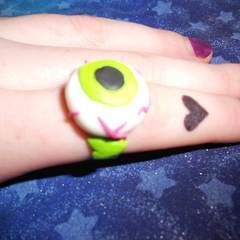 Eyeball, Zombie Heart, & Tim Burton Rings With Fimo