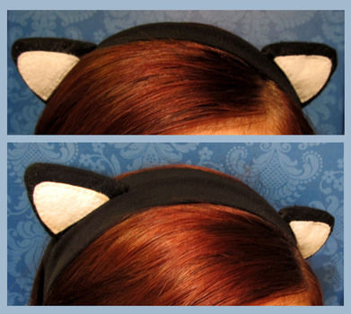 Got a spare headband? Turn it into something special! .  Free tutorial with pictures on how to make a pair of cat ears in under 60 minutes by hairstyling, needleworking, and sewing with scissors, felt, and felt. Inspired by cats, costumes & cosplay, and kawaii. How To posted by Nami H. Difficulty: Simple. Cost: Cheap. Steps: 8