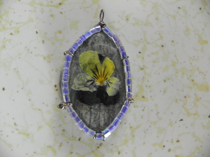flower pressed rock pendant  u00b7 how to make a recycled