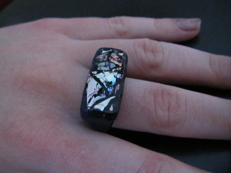 Shiny, modern, chunky ring .  Make a recycled ring in under 20 minutes by creating, decorating, jewelrymaking, and molding with varnish, fimo, and cd. Inspired by clothes & accessories. Creation posted by Christina Y. Difficulty: Simple. Cost: Absolutley free.