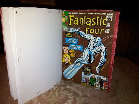 Made for someone who likes comic books!  .  Make a notebook journal in under 90 minutes by decorating, bookbinding, and paper folding with paper, needle and thread, and hot glue. Inspired by comic books. Creation posted by Hayley S. Difficulty: Easy. Cost: Absolutley free.