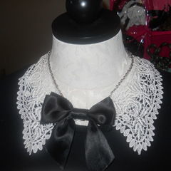 Vintage Lace And Chain Collar Necklace