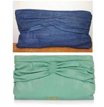 The Ruched (Leather) Clutch .  Free tutorial with pictures on how to make a clutch in under 90 minutes by sewing with fabric and thread. Inspired by vintage & retro, designer, and miu miu. How To posted by Modesty Fashions. Difficulty: Easy. Cost: No cost. Steps: 12