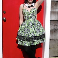 Lime Green Leopard Dress