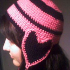 Heart Ear Flap Crochet Hat