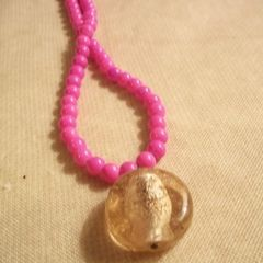 Golden Glass Circle Necklace