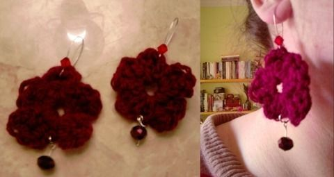 Yarn and crystals! .  Stitch a pair of knit or crochet earrings in under 50 minutes by yarncrafting, crocheting, and knitting with yarn, crochet hook, and earring hooks. Inspired by valentine's day, creatures, and vintage & retro. Creation posted by joanna. Difficulty: 3/5. Cost: Cheap.