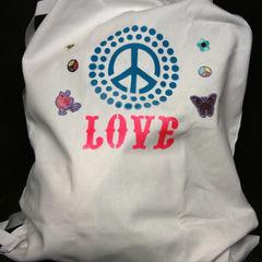 "Spray Painted ""Peace & Love"" Laundry Bag"