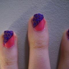 Funky Half Glittery Leopard Print Nail Design