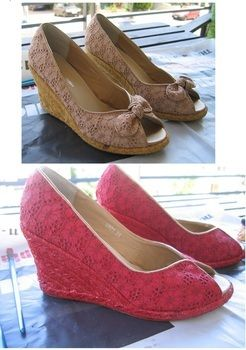 Give an old pair of shoes a brand new look! .  Free tutorial with pictures on how to make a pair of lace shoes in under 120 minutes by dyeing with fabric paint and glitter pen. Inspired by shoes. How To posted by bisozozo. Difficulty: Easy. Cost: Cheap. Steps: 4
