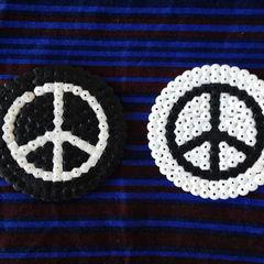 Hama Bead Black And White Peace Coasters
