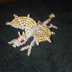 3 D Metallic Seed Bead Dragon
