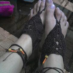 Brown Flower Design Barefoot Crochet :)