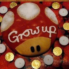 """""""Grow Up"""" Mario Birthday Cake"""