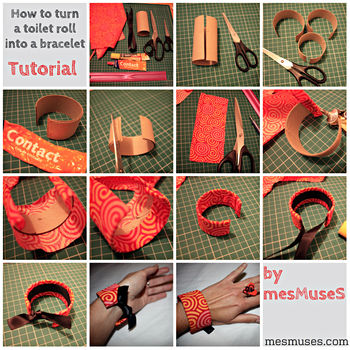 What to do with a toilet paper roll, a scrap of fabric and a ribbon?.. See below! :) .  Free tutorial with pictures on how to make a bangle in under 30 minutes by not sewing with fabric, ribbon, and fabric scissors. Inspired by clothes & accessories. How To posted by mesMuseS. Difficulty: Easy. Cost: Cheap. Steps: 1