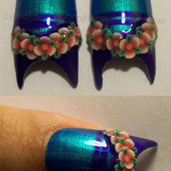 Purple And Blue Flower Nails
