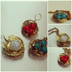 Bird Nest Pendant & Ring