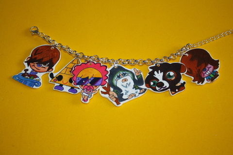 Funky moshi monster bracelet .  Make a charm bracelet by creating, drawing, jewelrymaking, and decorating with charms. Creation posted by gwenives. Difficulty: 4/5. Cost: 3/5.