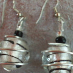 Black And Silver Wire Wrapped Earrings
