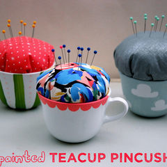 Hand Painted Teacup Pincushions