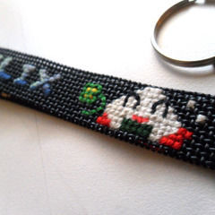 Cross Stitch Personalized Keychain