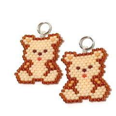 Teddy Bear Bead Woven Charm