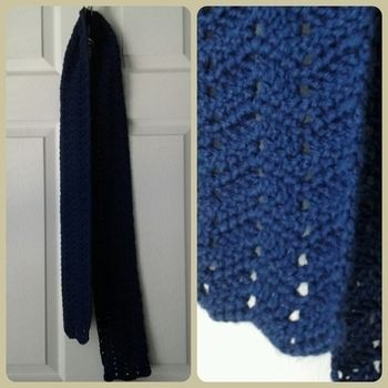 A scarf to wear in Florida? Yes, some do.. .  Stitch a chevron knit scarf by yarncrafting and crocheting with scissors, yarn, and crochet hook. Inspired by christmas and clothes & accessories. Creation posted by gypsie_jay. Difficulty: Simple. Cost: Cheap.
