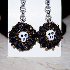 Skull Beaded Lace Earrings