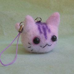 Vegan Needle Felt Kitty Phone Charm