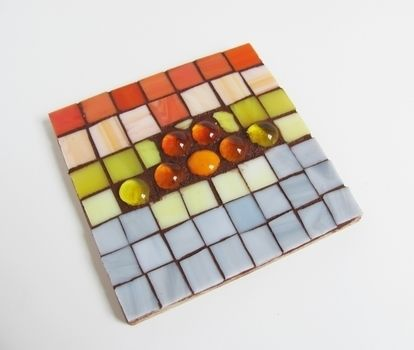 How to-sday | stained glass mosaic trivets .  Free tutorial with pictures on how to make a piece of mosaic art in under 40 minutes by mosaic with glue, decoupage glue, and paintbrush. How To posted by Shrimp Salad Circus. Difficulty: Simple. Cost: 3/5. Steps: 9