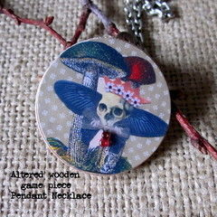 Pendant Necklace   Skull With Mushrooms