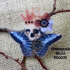 Skull Brooch   Steampunk Prince