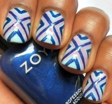 X out your nails with this fun design! .  Free tutorial with pictures on how to paint an x nail manicure in 2 steps by creating, drawing, applying makeup, applying makeup, nail painting, and decorating with nail polish, nail polish, and nail polish. How To posted by Shaina. Difficulty: 3/5. Cost: 3/5.