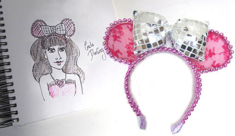 Make a hot pink beaded mouse ear headband with a super glitzy bow! .  Free tutorial with pictures on how to make an ear / horn in under 100 minutes by beading, jewelrymaking, and sewing with fabric, scissors, and sewing machine. Inspired by mice. How To posted by Cat Morley. Difficulty: Simple. Cost: Cheap. Steps: 20