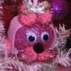 Square small pink poodle ornament closeup