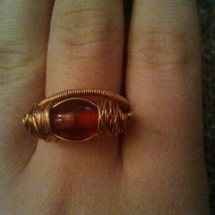 Red Bead And Wire Ring