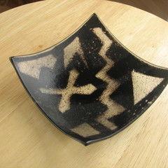 Black & White Slumped Fused Glass Bowl